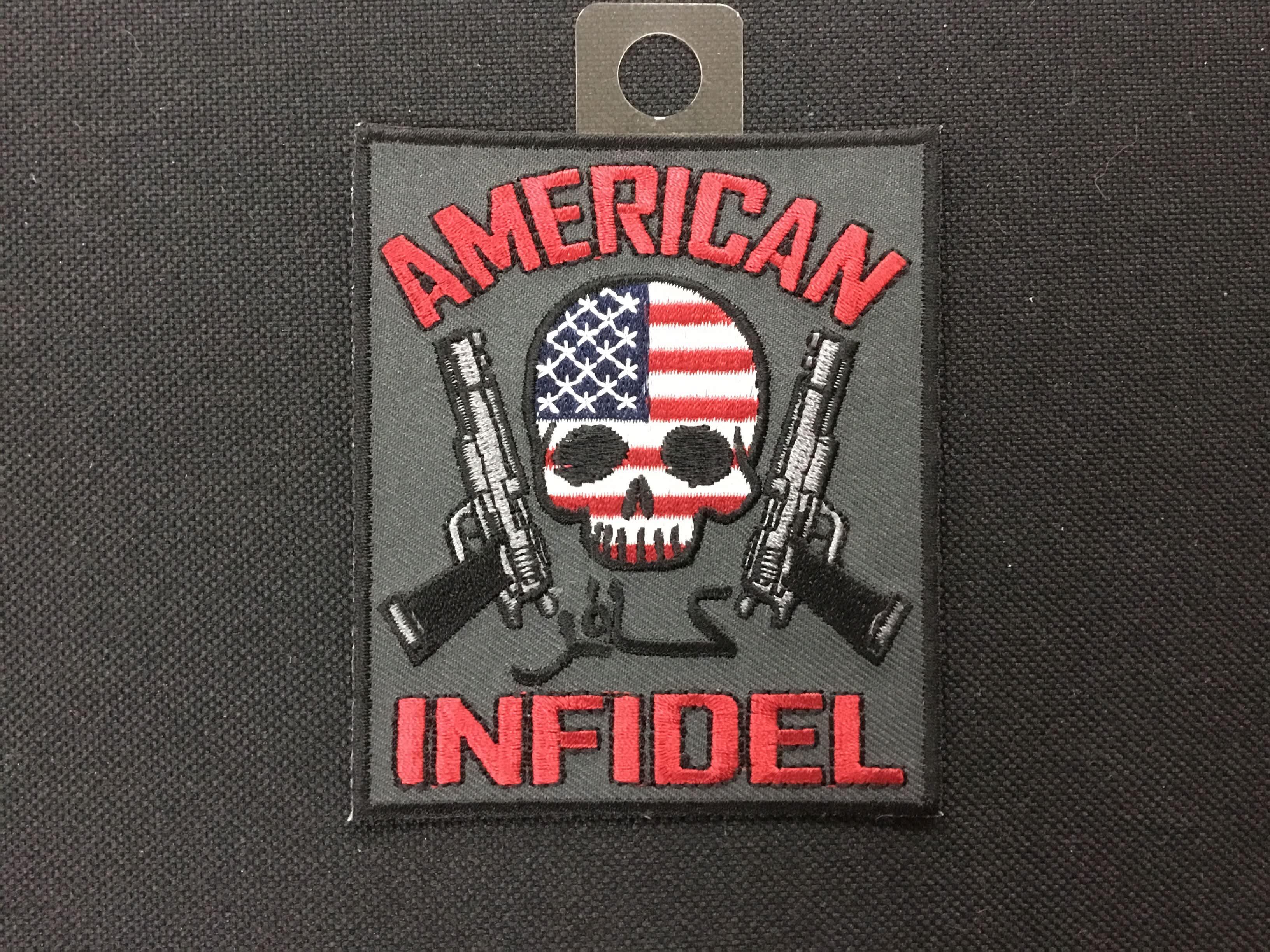 American Infidel Us Flag Skull Guns Arizona Biker Leathers Llc